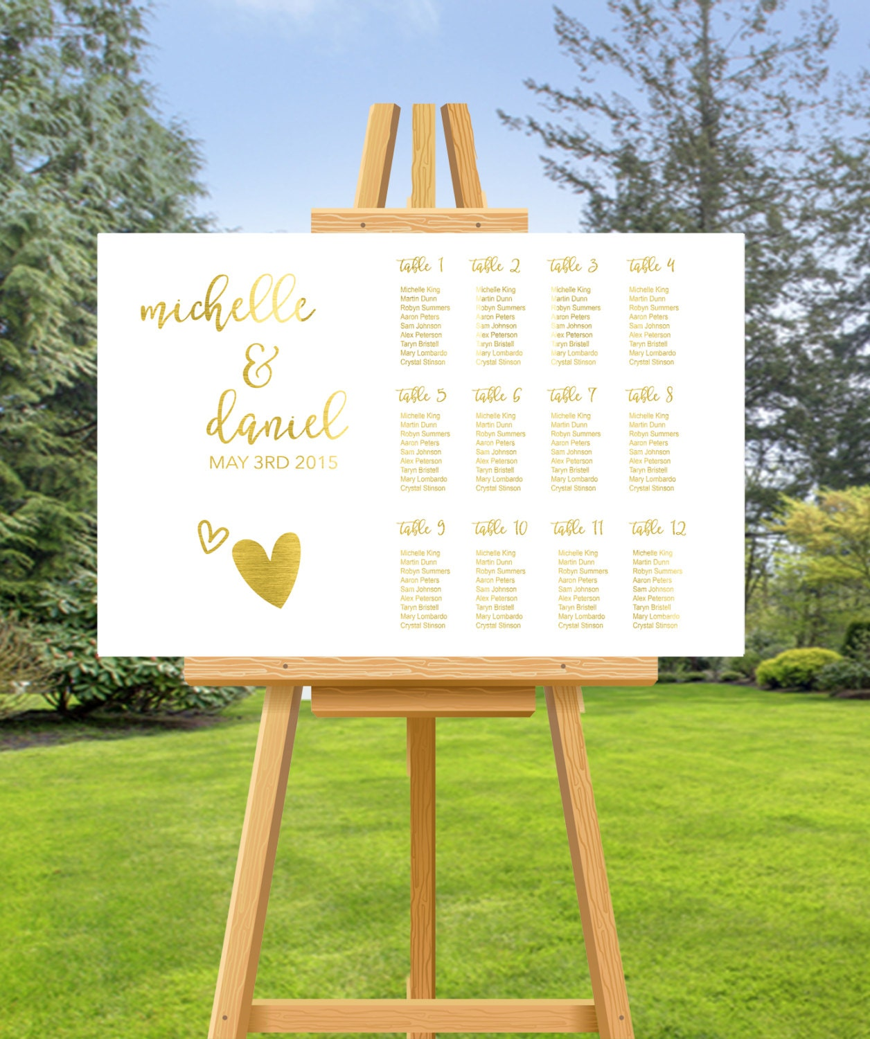 Gold Foil Wedding SEATING CHART Wedding Seating Chart Custom