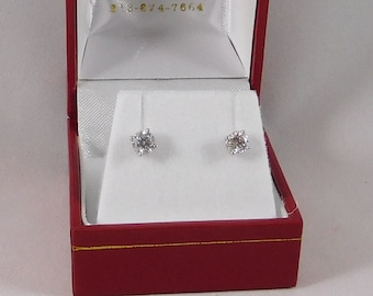 Diamond Earrings, All Natural, 0.82 Carats. G-H/SI. 14k White Gold w/ Screw Backs
