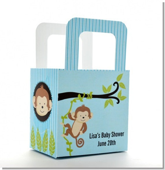 Baby shower favor boxes monkey personalized custom party zoom negle Image collections
