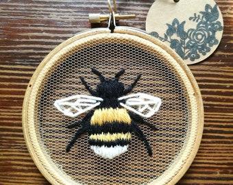 Hand Embroidered Hoop - 4 inch hoop - Bumblebee