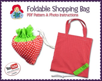 Foldable Shopping Bag 'Strawberry' • DIY Tutorial PDF | by Sami Dolls