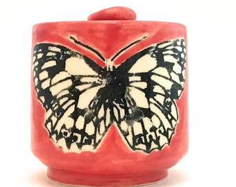 Butterfly Mug Black and White Marbled White on Red Handmade Stoneware Ceramic 12 Ounces Made to Order MG0069