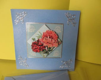 Bouquet of peonies and silver stickers (embossed) 3D card