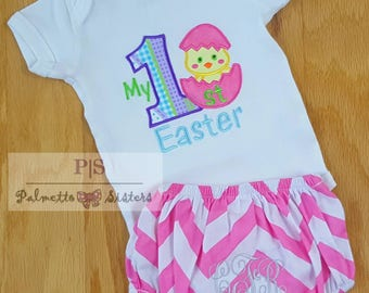 Baby girl Easter outfit, Baby My First Easter onesie,  personalized monogram diaper cover, Easter clothing, First Easter holiday chick