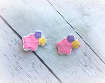 Star Hair clip Star Cluster Unicorn Stars hair clippie Dreaming Clip  Pick one or two. Pick Left side or Right.
