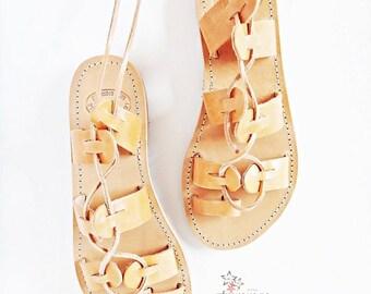 Lace Tie up Boho Stripes Leather Sandals/Gladiators /Genuine Greek High Quality Leather/ Natural Color/Strap Sandals