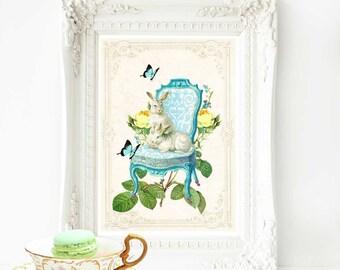 Rabbit print, nursery print, vintage chair, white rabbit, Easter decor, A4 giclee