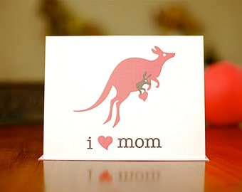I Heart Mom - Jumping Kangaroos New Baby or  Card on 100% Recycled Paper