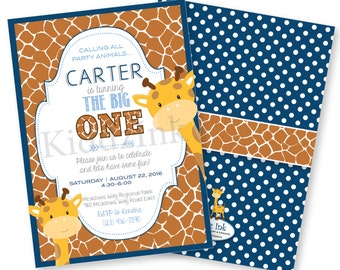 1st Birthday Printable Invitation for Boy 5x7 with Two Sides | Party Animals | Giraffe Invitation | Customized DIGITAL FILE for Printing