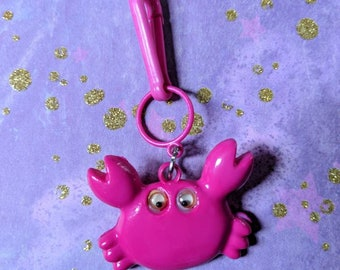 Vintage Bell charm Pink Crab - Charm Bracelet - Necklace - Retro Keychain clip - Zipper Pull - Kitsch Kawaii Mini 80s