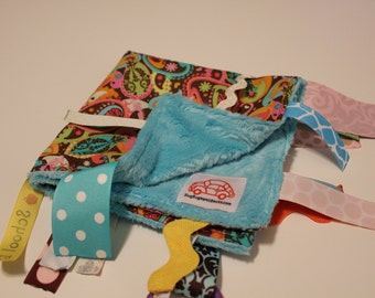 Paisley Turquoise Baby Blanket with Ribbons