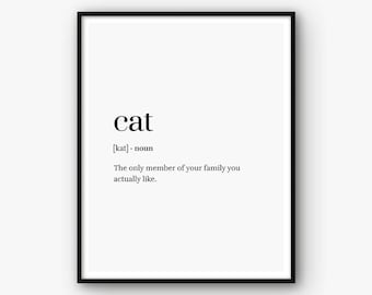 Cat Print Cat Poster Cat Definition Print Word Definition Poster Cat Printable Cat Quote Cat Wall Art Pet Print Pet Poster