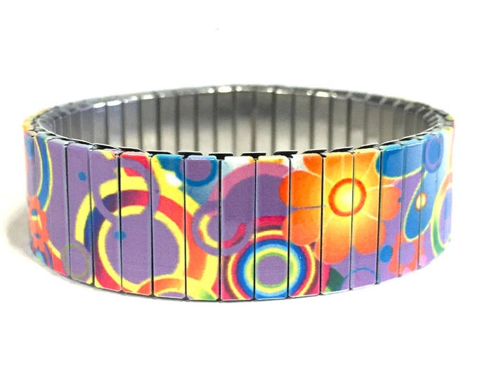 Bracelet FLOWER POWER, Purple, Stainless Steel, Repurpose Watch Band, Stretch Bracelet, Wrist Band, Sublimation, gift for friends