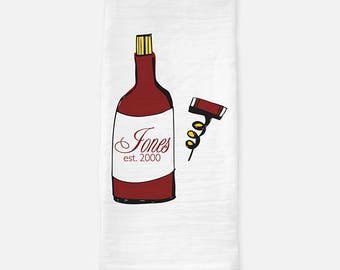 wine tea towel, personalized gift, christmas gift