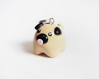 Cute Fat Pet Pug Dog Necklace Polymer Clay Pendant