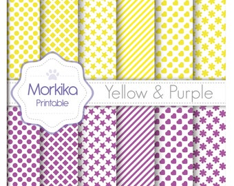 Digital Paper Yellow & Purple