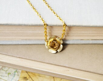 Gold Rose Flower Necklace