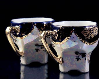 Demitasse Cups, Lusterware, Iridescent, Opalescent, Set of 2, Porcelain, Gold Encrusted, Blue and White, Made In Germany