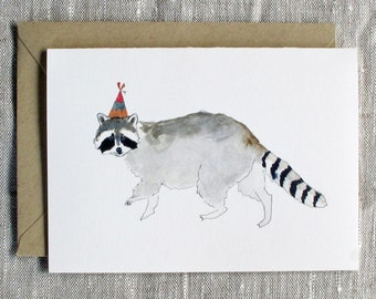 Couch animals curated by couch on etsy raccoon birthday card animal birthday card raccoon greeting card raccoon with party hat animal lover birthday card cute raccoon card snoogsandwilde bookmarktalkfo