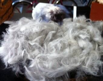 Light Gray English Angora fiber 3 oz.  Ready for spinning or felting.
