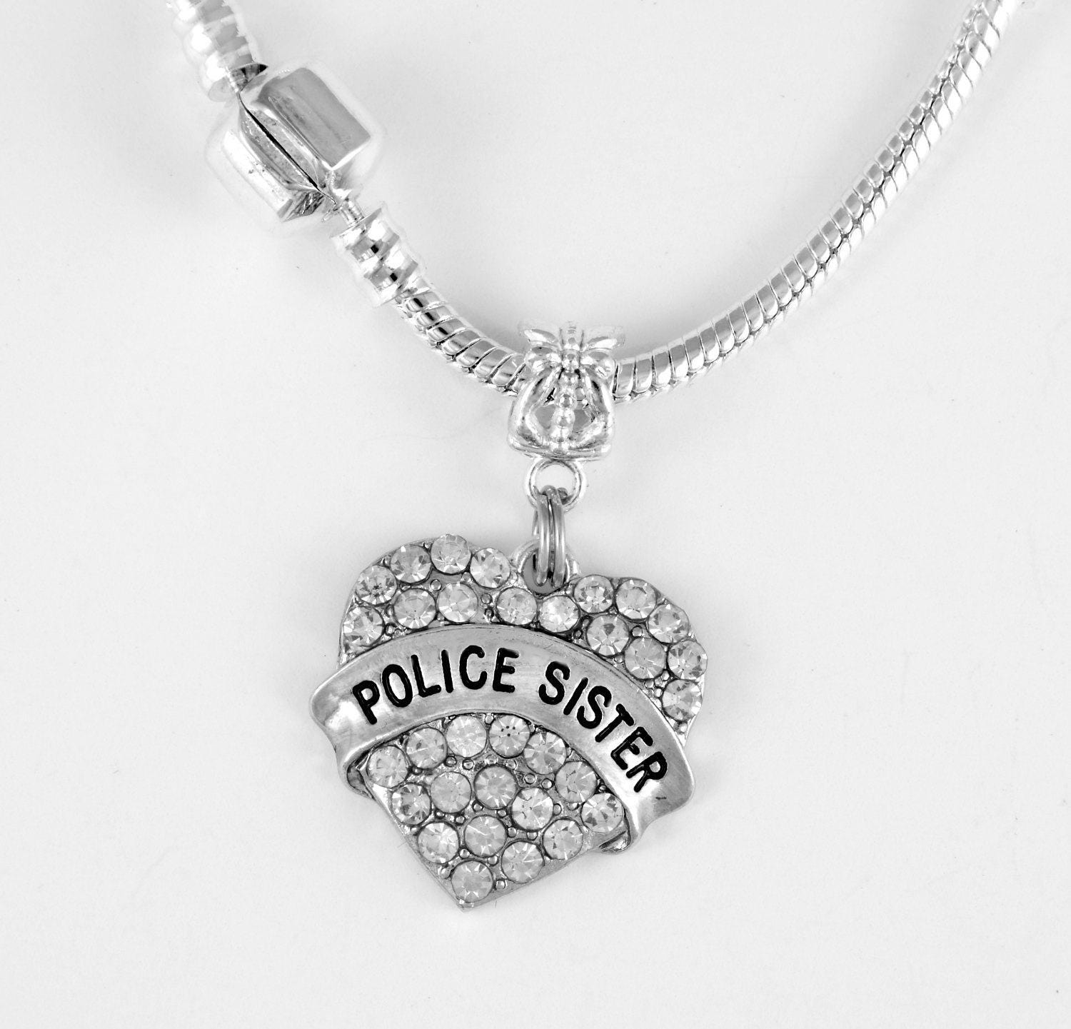 necklace police line pendant pin wife for badge blue gift thin