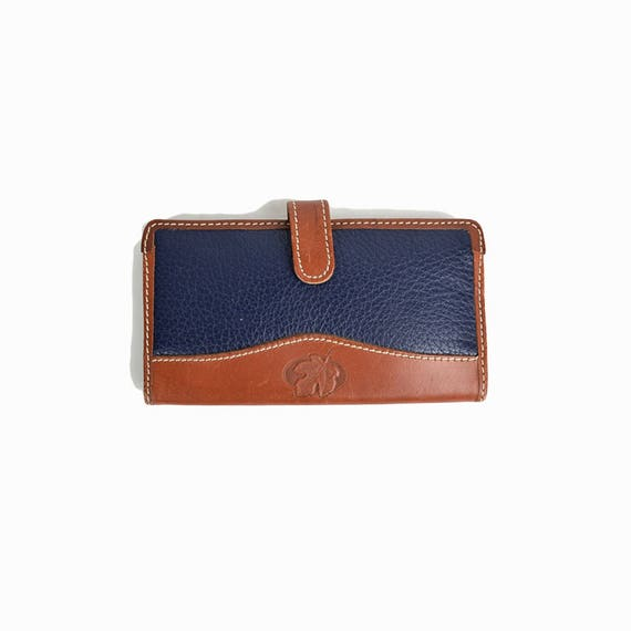 Vintage Leather Maple Leaf Wallet in Navy Blue & Brown / Leather Wallet