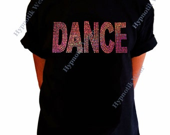 "Girls Sequence T-Shirt "" Pink AB Sequence Dance "" Size XS to XL"
