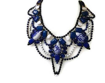 WILLOW PATTERN blue and white hand painted rhinestone super statement necklace