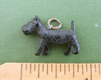Vintage Black Celluloid Dog Charm - Scottie Dog / Scotty Dog