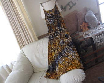 "Tie dye dress, Adult Large (size 12-14)- ""GO WILD"" in leopard/cheetah print, with spaghetti straps and  elastic waistline, 500"