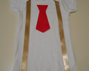 Baby or Toddler Onesie with Suspenders and Tie - Tan and Red