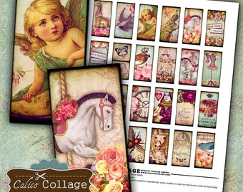 Whimsy Collage Sheet Domino Collage Sheet 1x2 Collage Sheet Whimsical Collage Sheet Playful Images Printable Images Clip Art Calico Collage