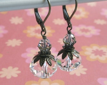 Victorian Clear Glass Leverback Earrings, Swarovski Crystal, Vintage Style, Rustic Wedding Jewelry