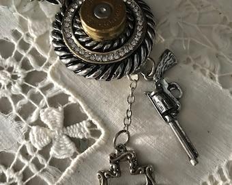 Woman Hunter Sportsman Rifle Bullet Casing Pendant Necklace