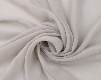 SILVER Solid Hi-Multi Chiffon Washed Fabric by the Yard - Style 501