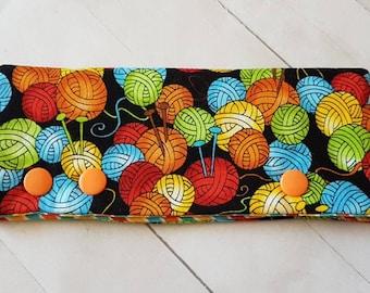 """Knitting Themed DPN Holder -for 6"""" DPNs  -dpn Cozy -DPN Cover -Cozy for Knitting Needles -Balls of Yarn Themed cozy"""