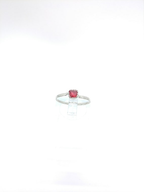 Hot Pink Spinel Ring   Sterling Silver Ring Sz 6   Raw Spinel Ring   Spinel Stacking Ring   Stackable Ring   Stacker Ring   UV Reactive