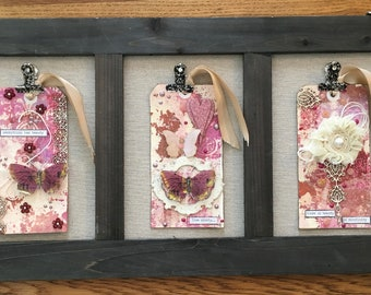 Clipboard with 3 beautful tags. A new way to display art with tags.