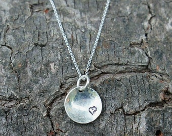Heart Love Necklace Jewelry - Sterling Silver Sterling Silver Hammered Circle Disc Hand Stamped with Mini Heart on Sterling Chain