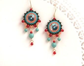 Turquoise chandelier dangle earrings, Gift for wife birthday, Colorful beaded chandelier earring, Prom earrings for women