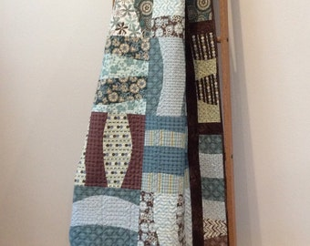 Quilt For Sale- Ready To Ship-throw Quilt-lap Quilt-home Decor--modern Quilt - Chocolate, Green, Teal