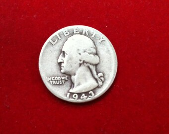 "Vintage Silver Coin Quarter Dollar ""1943"" Liberty United States Of America, ( 10 Coins Available)"