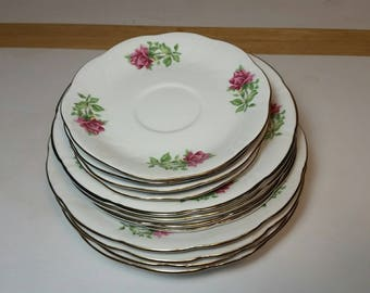 Vintage Dinner Plates, Floral Plate set, Dinner Set of 12 plates, Ceramic Plates, Pottery Plates