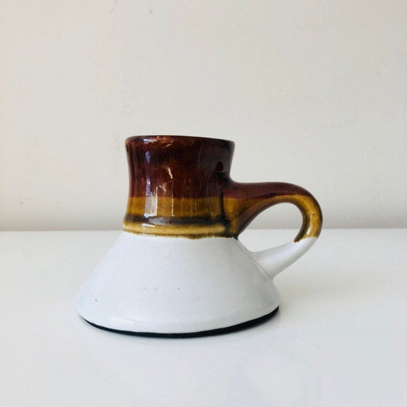 Vintage White Ceramic Coffee Mug Brown and Beige Striped Stoneware Coffee Cup Cone Shaped Ceramic Travel Mug