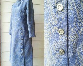 Vintage Blue and Gray Dress || Mod Fashion || Medium