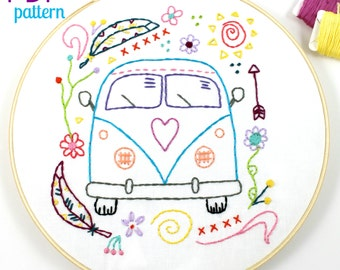 Hippy Van. Hand Embroidery Pattern. PDF Pattern. Embroidery Design. VW Bus. Summer. Travel. Digital pattern. Hippie. Surfer. Beach. Modern.