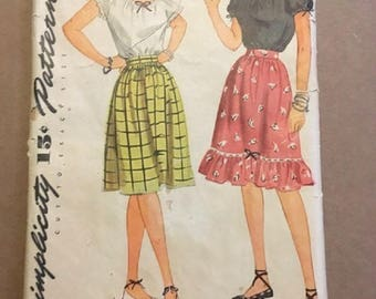 Vintage 1940's Simplicity Pattern 1261Junior and Misses Skirt and Blouse Size 15 Bust 33