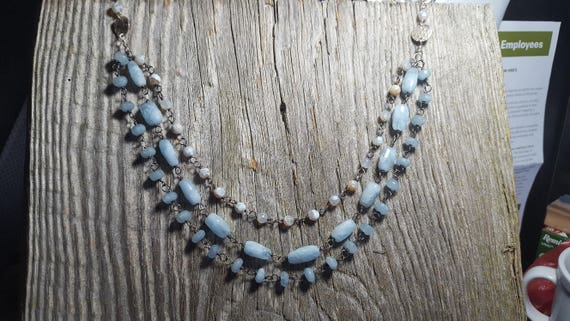 Blue Chalcedony Multi Strand Necklace