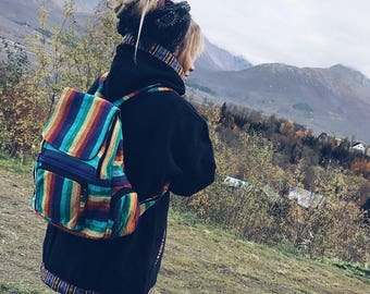 Rainbow Rasta Backpack, Bright Stripe Multicolour Rucksack, Hippy Boho Festival