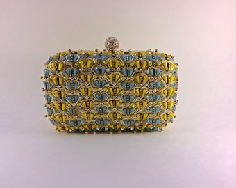 Yellow blue and gold clutch,box clutch,beaded box clutch,embroidery clutch,evening bag,party clutch,wedding clutch,bridal,clutch,embellished